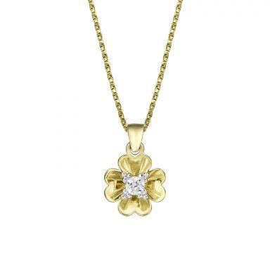 תליון ושרשרת מזהב צהוב - פרח רוזבאד