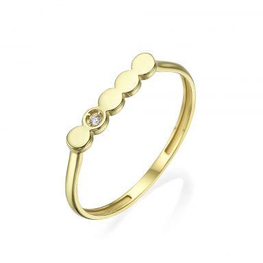 טבעת מזהב צהוב 14 קראט -  ניקול