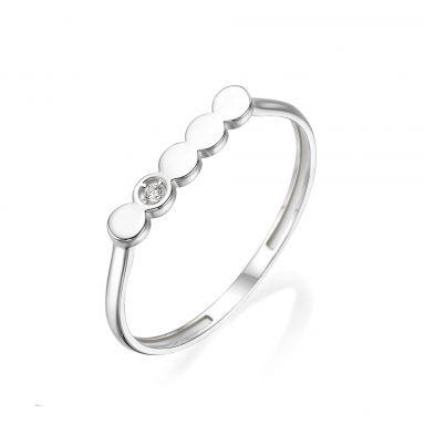 טבעת מזהב לבן 14 קראט -  ניקול
