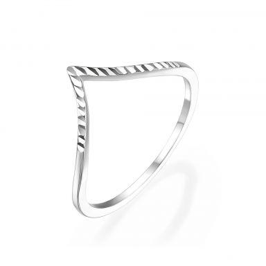טבעת מזהב לבן 14 קראט -  וי מבריק