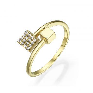 טבעת פתוחה מזהב צהוב 14 קראט - קוביות מנצנצות