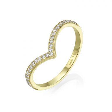 טבעת וי מזהב צהוב 14 קראט - ליה