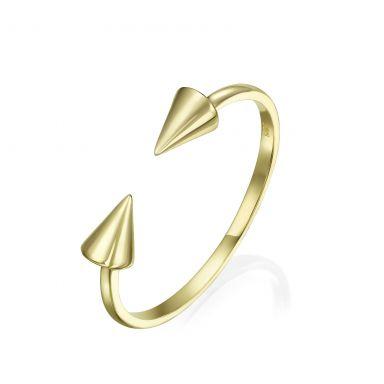 טבעת פתוחה מזהב צהוב 14 קראט - חצים מסתובבים