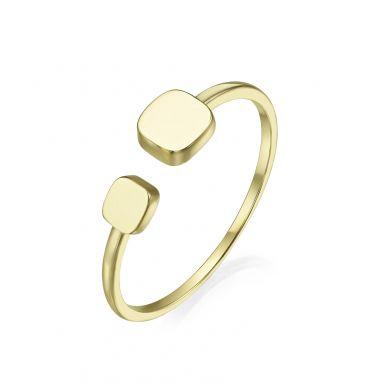 טבעת פתוחה מזהב צהוב 14 קראט - קוביות יולי