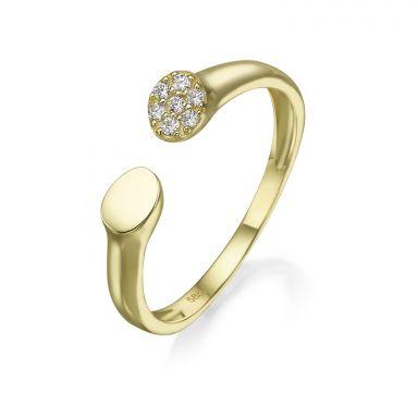 טבעת פתוחה מזהב צהוב 14 קראט - סלין