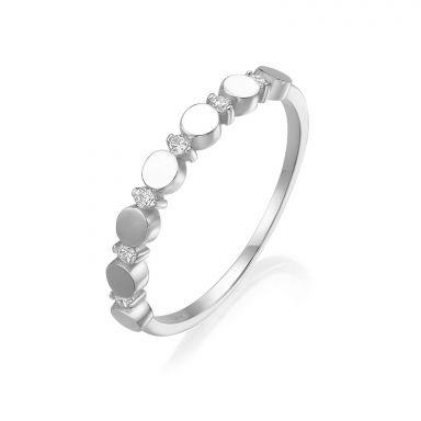 טבעת מזהב לבן 14 קראט - עיגולי קרולינה