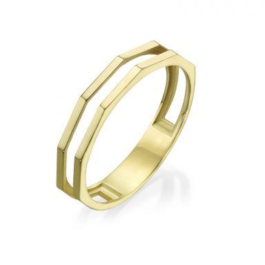 טבעת מזהב צהוב 14 קראט - מילאן