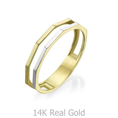 טבעת מזהב צהוב ולבן 14 קראט - מילאן