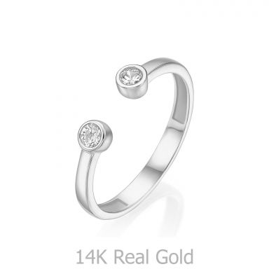 טבעת פתוחה מזהב לבן 14 קראט - עיגולי טל מנצנצים
