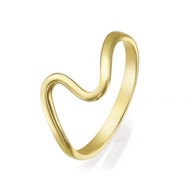 טבעת מזהב צהוב 14 קראט - גל