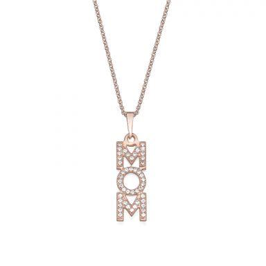 שרשרת mom יהלומים מזהב ורוד 14 קראט  -  אנכי יהלומים
