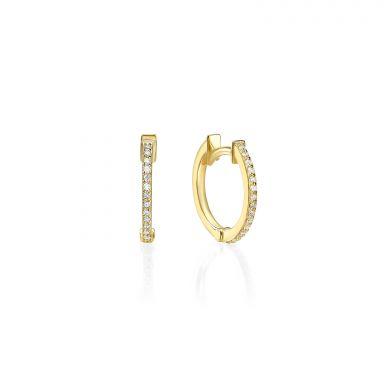 עגילי חישוק יהלומים מזהב צהוב 14 קראט - ליידי S