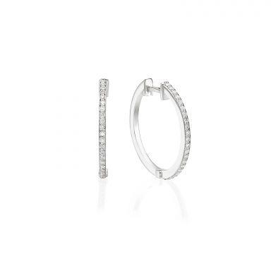 עגילי חישוק יהלומים מזהב לבן 14 קראט - ליידי M