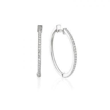 עגילי חישוק יהלומים מזהב לבן 14 קראט - ליידי L