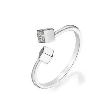 טבעת פתוחה מזהב לבן 14 קראט - פירנצה