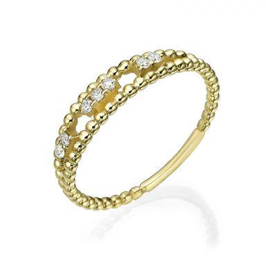 טבעת יהלום מזהב צהוב 14 קראט - קיילי