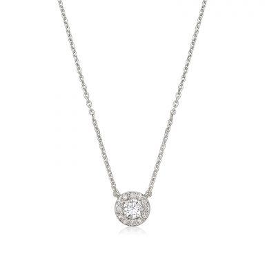 שרשרת ותליון יהלומים מזהב לבן 14 קראט - מריבל