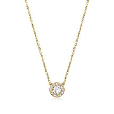 שרשרת ותליון יהלומים מזהב צהוב  14 קראט - מריבל