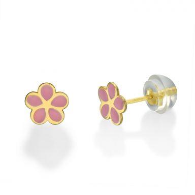 עגילים צמודים מזהב צהוב 14 קראט - פרח ורדית