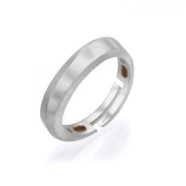 טבעת מזהב לבן 14 קראט - גל עדין מט