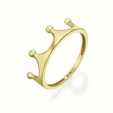 טבעת מזהב צהוב 14 קראט - כתר