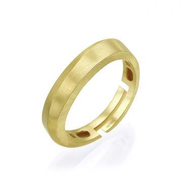 טבעת מזהב צהוב 14 קראט - גל עדין מט