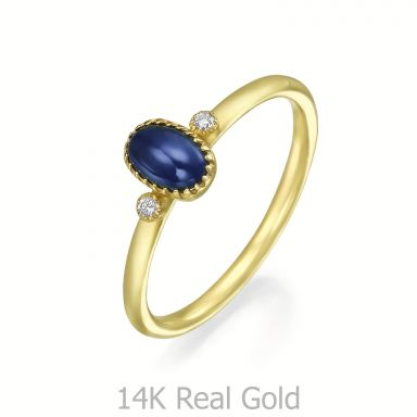 טבעת יהלומים ואבן חן ספיר מזהב צהוב 14 קראט  - ליברטי