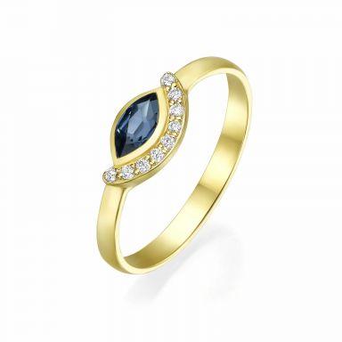 טבעת יהלומים ואבן חן ספיר מזהב צהוב 14 קראט  - ארייה