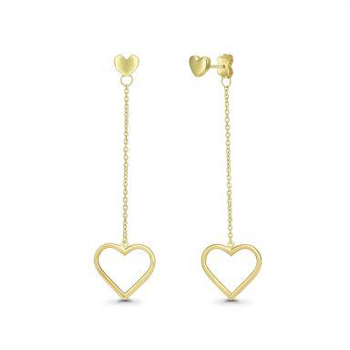 עגילים תלויים מזהב צהוב 14 קראט - לבבות תלויים