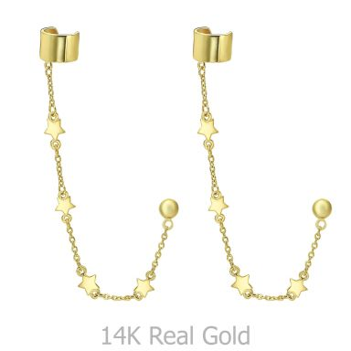 עגילים צמודים עם הליקס חובק מזהב צהוב 14 קראט - כוכבים נופלים