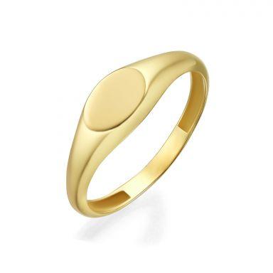 טבעת מזהב צהוב 14 קראט - חותם אליפסה מבריק