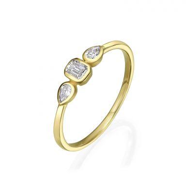 טבעת יהלומים מזהב צהוב 14 קראט - ביאנקה