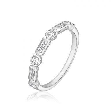 טבעת יהלומים מזהב לבן 14 קראט - רנה