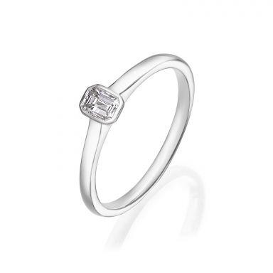 טבעת יהלומים מזהב לבן 14 קראט - סקיי