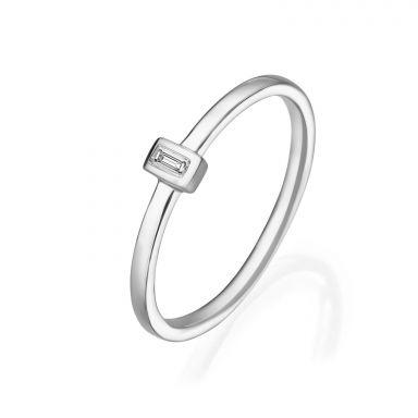 טבעת יהלומים מזהב לבן 14 קראט - טאי