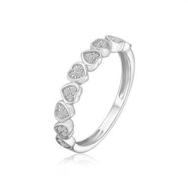 טבעת יהלומים מזהב לבן 14 קראט - לבבות  ניקה