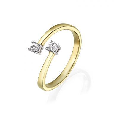 טבעת יהלומים מזהב צהוב 14 קראט - ריי