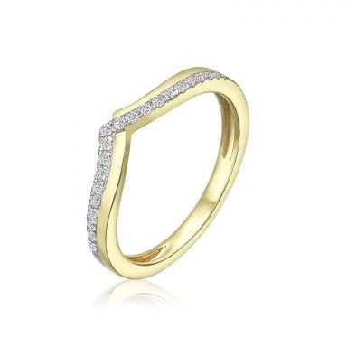 טבעת יהלומים מזהב צהוב 14 קראט - שייה