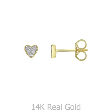 עגילי יהלומים צמודים מזהב צהוב 14 קראט - לב קלי