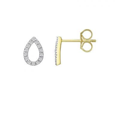 עגילי יהלומים צמודים מזהב צהוב 14 קראט - טיפה מנצנצת