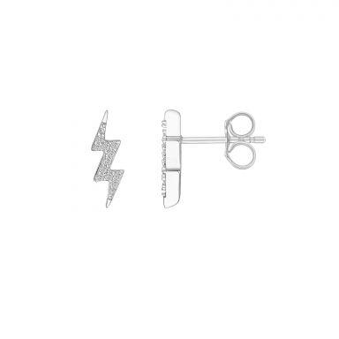 עגילי יהלומים צמודים מזהב לבן 14 קראט - ברק
