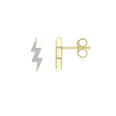עגילי יהלומים צמודים מזהב צהוב 14 קראט - ברק