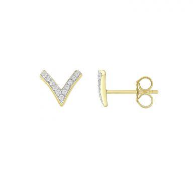 עגילי יהלומים צמודים מזהב צהוב 14 קראט - וי יהלומים
