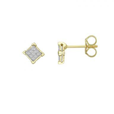 עגילי יהלומים צמודים מזהב צהוב 14 קראט - מעוין יהלומים