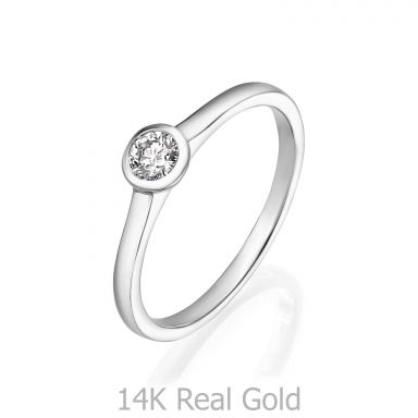טבעת יהלומים מזהב לבן 14 קראט - מון