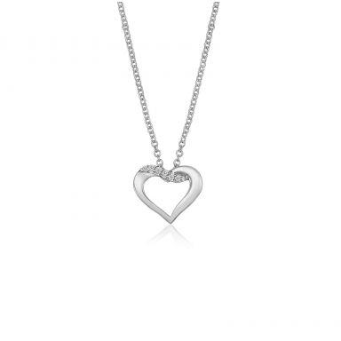 תליון ושרשרת יהלומים מזהב לבן 14 קראט - לב נאיה
