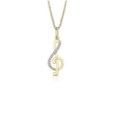 תליון ושרשרת יהלומים מזהב צהוב 14 קראט -  מפתח סול