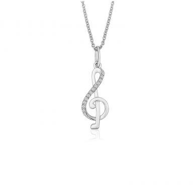 תליון ושרשרת יהלומים מזהב לבן 14 קראט - מפתח סול