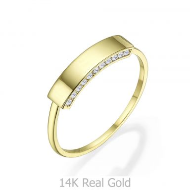 טבעת מזהב צהוב 14 קראט - חותם מנצנץ