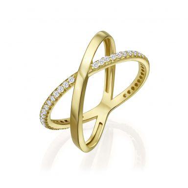 טבעת איקס לאישה מזהב צהוב 14 קראט - רוקסי